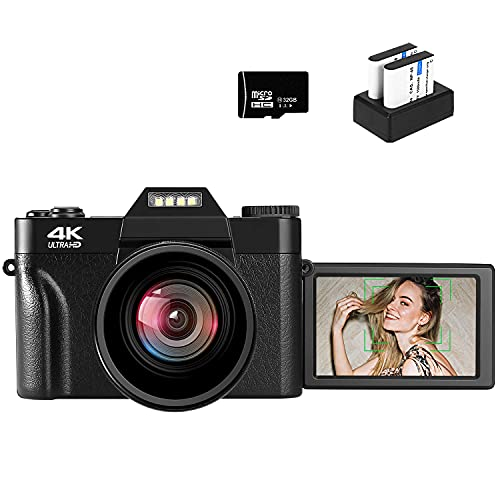 VJIANGER 4K Digital Camera 48MP Pixel Autofocus Vlogging Camera 3.0″ IPS 30FPS Flip Screen 16X Digital Zoom Fixed Camera Lenses for Photography on YouTube with 32GB SD Card, 2 Batteries (Black)