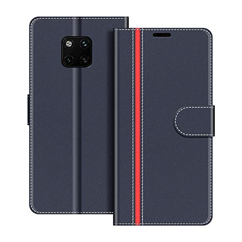 COODIO Handyhülle für Huawei Mate 20 Pro Handy Hülle, Huawei Mate20 Pro Hülle Leder Handytasche für Huawei Mate 20 Pro Klapphülle Tasche, Dunkel Blau/Rot