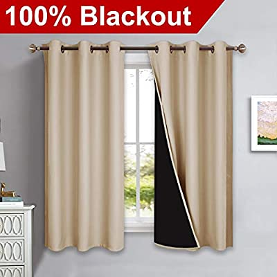 NICETOWN 100% Blackout Curtains with Black Liner Backing