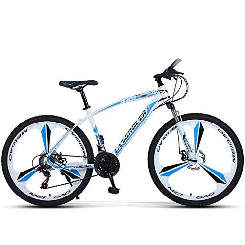 PBTRM MTB Bicicleta Montaña 26 Pulgadas, Desviador Trasero 27 Velocidades, Frenos Disco Delanteros Y Traseros, Más Colores, Altura Adecuada 160-185Cm,Blanco
