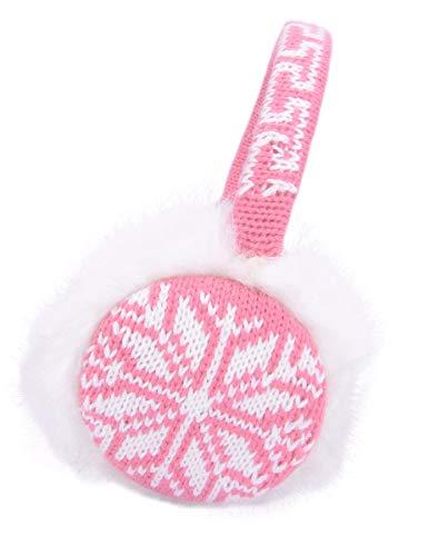 Kids Girls Plush Faux Fur Winter Knitted Snowflake Earmuffs Pink