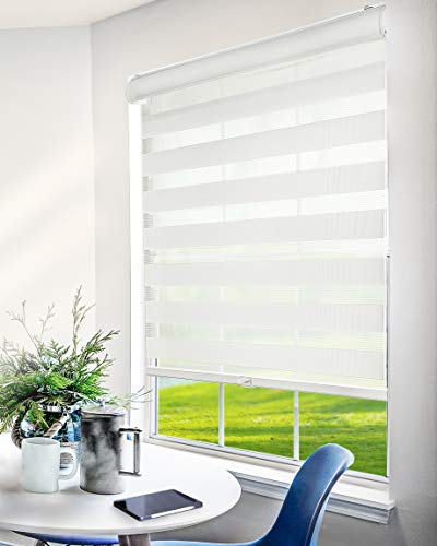 """CHICOLOGY Everyday Cordless Zebra Shades, Light Filtering Dual Layer Window Blind Treatment Best for Kids & Perfect for Living Room/Bedroom/Kitchen and More, 70"""" W X 72"""" H, Basic Arctic"""