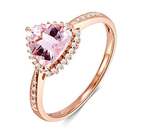 Cenliva Ewigkeitsring Rosegold, Verlobungsring18ct 750 Rotgold Ring 0.9ct Herz Morganit Diamant Größe 45 (14.3)