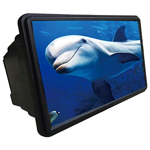 MAI&BAO Mobile Phone Screen Magnifier Glasses Magnifying Glass 3D Video Loupe Eye Protector Microscope Multi-func Smart-Phone Bracket,Black