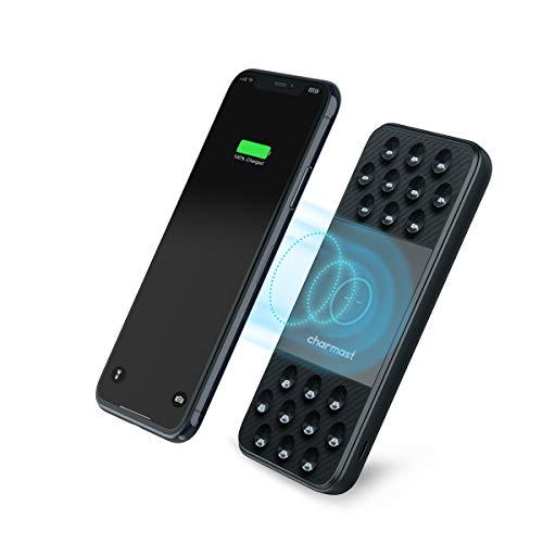 Charmast Powerbank Wireless Charger 10000mAh Externer Akku Kabellose Ladegerät Drahtloses Qi Power Bank QuickCharge 3.0 USB C Micro Dual Eingänge 3 Ausgänge für iPhone XS/X/8 Samsung Galaxy smartphone