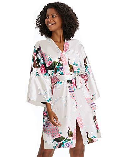 BABEYOND Damen Morgenmantel Kurz Pfau Muster Bademantel Kimono Sommer Robe Satin Schlafmantel Damen Nachtwäsche mit Gürtel Strandkleid (Weiß)