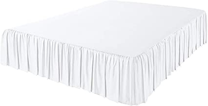 The Great American Store 3 Side Coverage Ruffle/Gathered Bed Skirt with 23 Inch Drop Length (Queen, Solid White) 1500 Series Brushed Microfiber - Covers Bed Legs and Frame