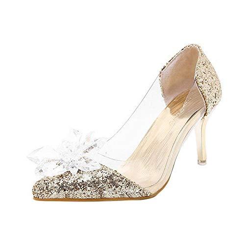 VJGOAL Sandalias de Diamantes de imitación de Verano para Mujer Moda Sexy Cristal Transparente Zapatos de tacón Alto Tacones Finos Sandalias Tacón de Aguja(38 EU,Oro)