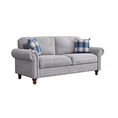 Wellgarden 3 Seater Fabric Grey Sofa Couch Settee Living Room Sofa with Retro Design Leg