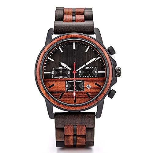 Reloj deportivo de madera para hombres, movimiento japonés, cuarzo luminoso, acero de madera, dial de sándalo rojo, una visita obligada para el éxito, la combinación de tecnología y naturaleza mejor r
