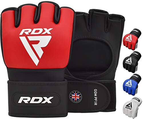 RDX MMA Fight Gloves for Grappling and Martial Arts, Open Palm Maya Hide Leather Sparring Mitts, Good for Cage Fighting, Kickboxing, Punch Bag, Muay Thai Training and Combat Sports