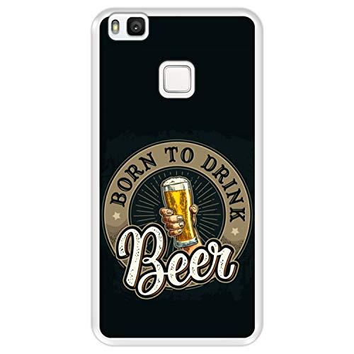 Funda Transparente para [ Huawei P9 Lite ] diseño [ Saludos, Nacido para Beber Cerveza ] Carcasa Silicona Flexible TPU