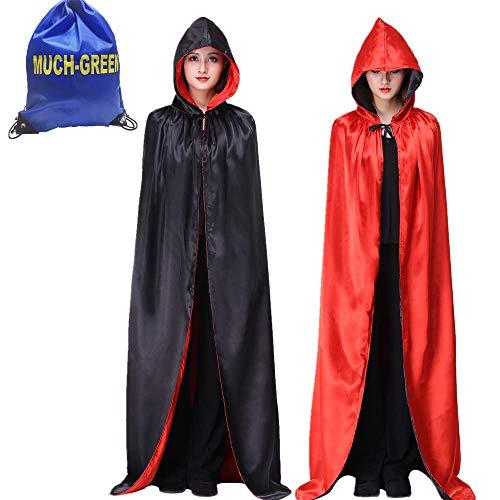 MiiDD Mantello con Cappuccio Lungo in Velluto,Costume Unisex di Halloween Carnevale Natale Capo Masquerade Costume Strega Wicca Vampiro