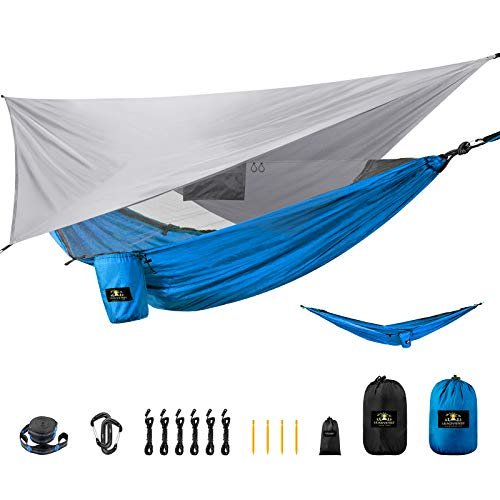 LEADVENST Camping Hammock Set with Rain Fly and Mosquito Bug Net, Portable Hammock with Tree Straps and Hanging Kit, Parachute Nylon Survival Hammock Tent, Easy Setup, for Travel Hiking Outdoor Indoor