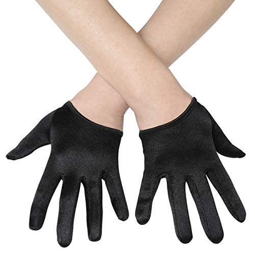 BABEYOND Short Opera Satin Party Gloves Wedding Evening Gloves 20s Gloves for Special Occasion (Black)