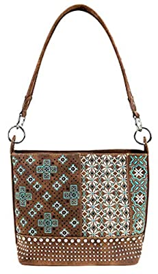 Montana West - Western Concealed Carry Hobo Shoulder Bag - Embroidered Floral Collection, Coffee Vegan Leather