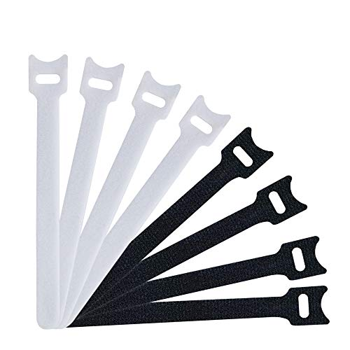 Besign 60 Pack Fastening Cable Straps, Reusable Cord Organizer, Keeper Holder, Cable Ties for Earphones, Earbuds, Headphones, Home Office Tablet, PC, TV Wire Management, Black and White