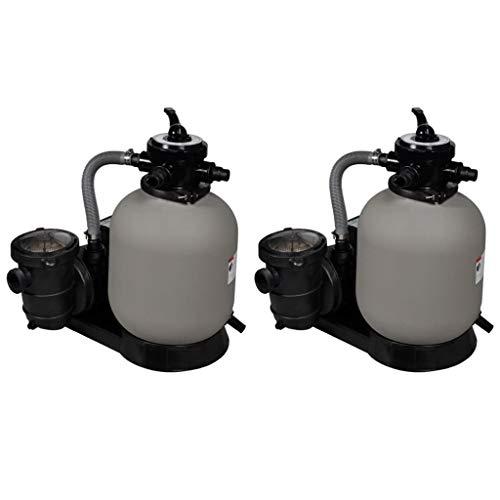 vidaXL 2x Sandfilterpumpe Sandfilteranlage Poolpumpe Filteranlage Filterkessel Wasserfilter Poolfilter Sandfilter für Pool Pumpe 600W 17000L/h