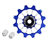 Tbest Bike Guide Wheel,12T Jockey Wheels Pulley MTB Road Mountain Bike Bicycle Rear Derailleur Pulley Roller Wheel Aluminum Alloy Ceramic Jockey Pulley Wheel for 7/8 / 9/10 Speed Bike(Blue)