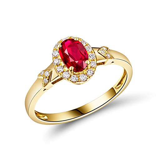 AnazoZ Anillo Mujer Plata Rubi,Anillos de Compromiso Mujer Oro Amarillo 18 Kilates Oro Rojo Oval Rubí Rojo 0.532ct Diamante 0.14ct Talla 6,75