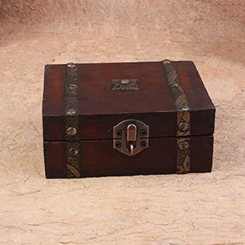 XZJJZ Joyería de Box-Caja de Almacenamiento de joyería de la Vendimia de Madera Hecho a Mano Caja de Madera Tallada Tarjetas Taro Caja con Mini Metal de Bloqueo Almacenamiento