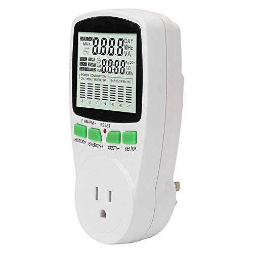 eecoo Electricity Usage Monitor, 0.000KWh-9999 KWh Power Meter Plug 0-16A Intelligent Digital Power Monitor Meter with LCD Display, Energy Watt Voltage Amps Meter for Energy Saving(#2)