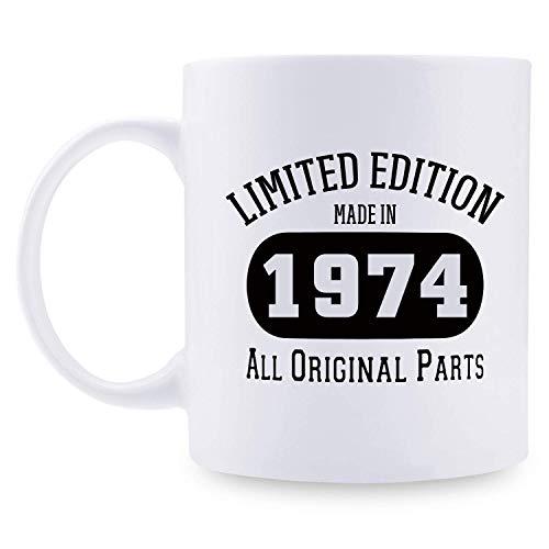 45.os regalos de cumpleaños para mujeres - 1974 regalos de cumpleaños para mujeres, divertida taza de café, regalos de cumpleaños de 45 años para mamá, esposa, amiga, tía, hermana, prima, compañera de