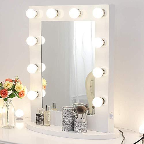 女優ミラー 大型 65*50cm 無段階調光・コンセント付き 壁掛け LED ライト付き 化粧鏡 ハリウッドミラー ドレッサー (ホワイト)