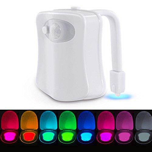 WC Nachtlicht, LED Toilette Licht WC Lampe mit Bewegungssensor Batteriebetriebenes Licht Toilettenlicht Toilettenbeleuchtung für Kinder Eltern im Badezimmer, Hause..