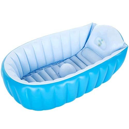 NXYJD Bebé de la bañera Inflable, portátil bebés y niños pequeños Que bañan la Tina no Slip Viaje Bañera Mini Piscina al Aire Niños Grueso Plegable Ducha Cuenca, Azul