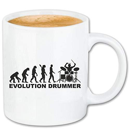 Reifen-Markt Kaffeetasse Schlagzeuger - Drummer - Rockband - Musikband - GUGGE Musik Keramik 330 ml in Weiß
