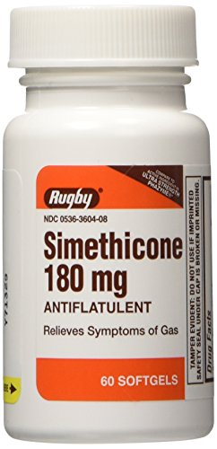 Rugby Simethicone 180mg Softgels Anti-Gas, 60 Softgels, (2 Pack)