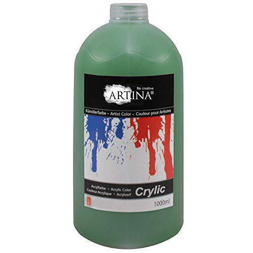 Artina Crylic Acrylfarben - hochwertige Künstler-Malfarbe in 1000 ml Flaschen für Keilrahmen & mehr in Saftgrün