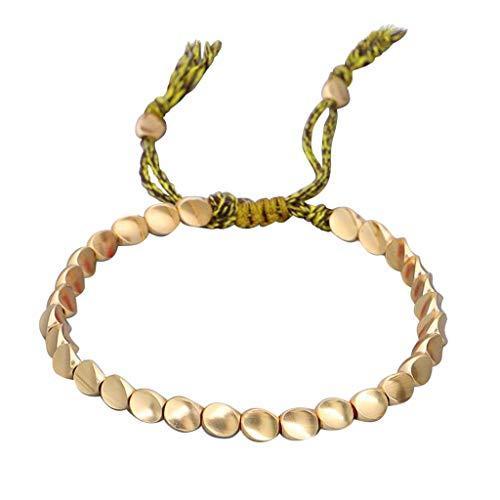 Hunpta@ - Pulseras de cobre trenzado, ajustables, para mujeres, hombres, hombres, ideas de regalo (verde)