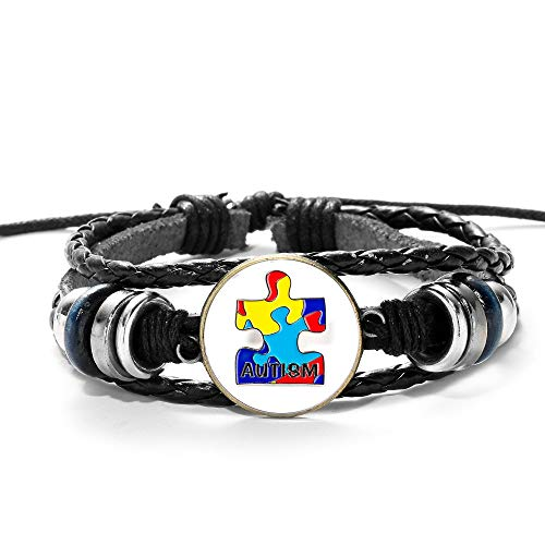 MTCDBD Braided Bracelets Adjustable Multilayer Unisex Couples Bracelets,Autism Awareness Puzzle Piece Picture Punk Style,Bangle Hand Chain Cuff Jewelry Gifts,For Men Women Jewelry Accessories