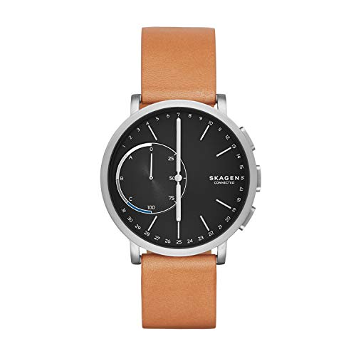 Skagen Connected Men's Hagen Titanium and Leather Hybrid Smartwatch, Color: Silver-Tone, Tan (Model: SKT1104)