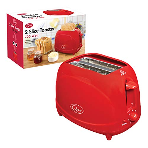 Quest 34290 Classic Two Slice Toaster Variable Browning Levels Cool Touch, 700W, H16 x W25 x 14.5cm, Red