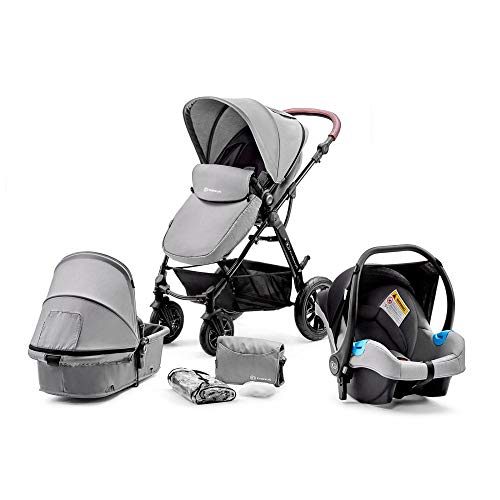 Kinderkraft Pram 3 in 1 Set MOOV, Travel System, Baby Pushchair, Rear and Front Facing, Foldable, with Infant Car Seat, Accessories, Rain Cover, Footmuff, Up to 3 Years, Gray