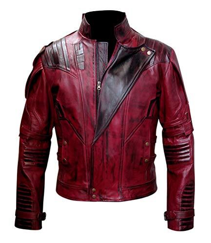 So-Shway Star Distressed Herren Lederjacke - Maroon Costume Jacket for Men (X-Large)