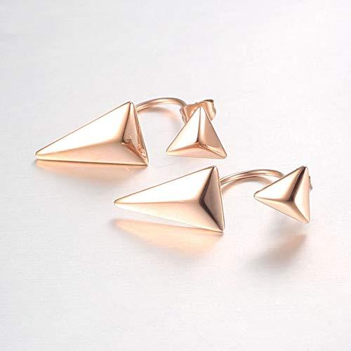 NOBRAND Pendientes Mujer Pendientes De Doble Triángulo Pendientes De Botón De Color Dorado Pendientes De Acero Inoxidable Joyería De Moda para Mujeres