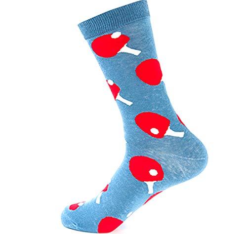 Table Tennis Pattern Men'S Tube Socks Cotton Sweat Absorbing Deodorant Sports Wild Socks