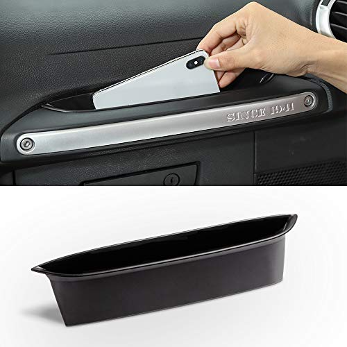 Savadicar GrabTray Passenger Storage Tray Organizer Grab Handle Accessory Box for 2011-2018 Jeep Wrangler JK JKU 2/4 Door, Interior Accessories, Black