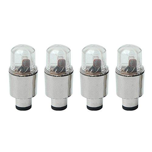 styleinside® 4X Bouchons de Valves Lumineux Pneu LED pour Voiture Vélo + 12 Piles Bouton