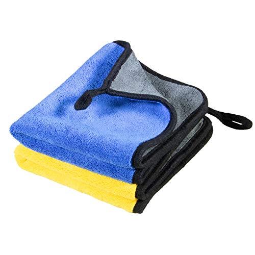 Cosey - 2er Pack, Premium Mikrofaser-Poliertuch für empfindliche Lack-Oberflächen, 30x40cm, gelb-grau/blau-grau