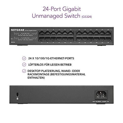 Netgear GS324 Switch 24 Port Switch Gigabit Ethernet (LAN Switch für Desktop- oder Rack-Montage, Plug-and-Play, energieeffizient, lüfterloses Gehäuse für leisen Betrieb)