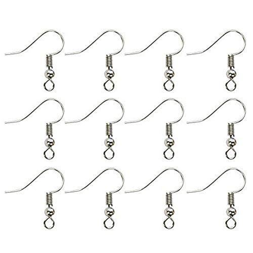 100 piezas de ganchos para pendientes, kits de fabricación de joyas para pendientes, alambres de oreja chapados en plata, anzuelos para pendientes para la fabricación de joyas DIY