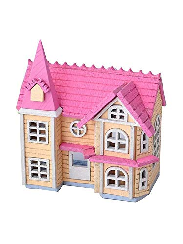 Loriver Fantasy Town Assembled Model House Creative DIY 3D Cabin Set Doll Toy Pink