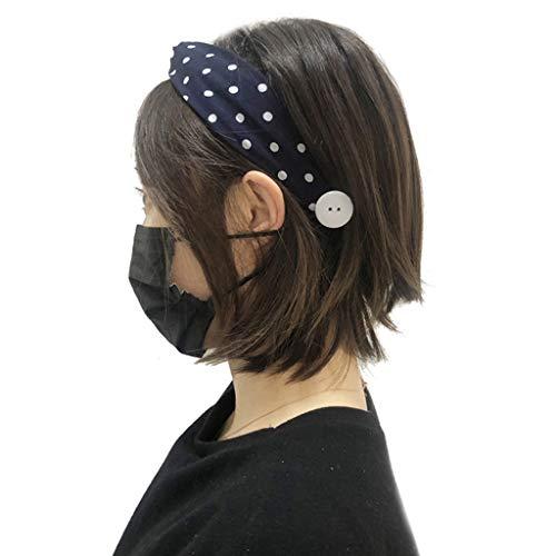 Xniral Kopfbedeckung Frauen bedrucktes elastisches Haarband mit Knöpfen Gesicht tragen Halter Ohren Kopfwickel Haar Bandana(H)