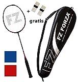 FZ Forza - Raquette de Badminton Airflow 74 Lite pour avancés - Sac et 2 Grip de Raquette gratuits, Raquette: Rouge