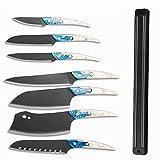 cuchillos Cocina de acero inoxidable Cuchillos Juego de herramientas Soporte de cuchilla Manija de plástico Tajado Santoku Pelado de herramientas cocina (Color : B 8PCS SET)